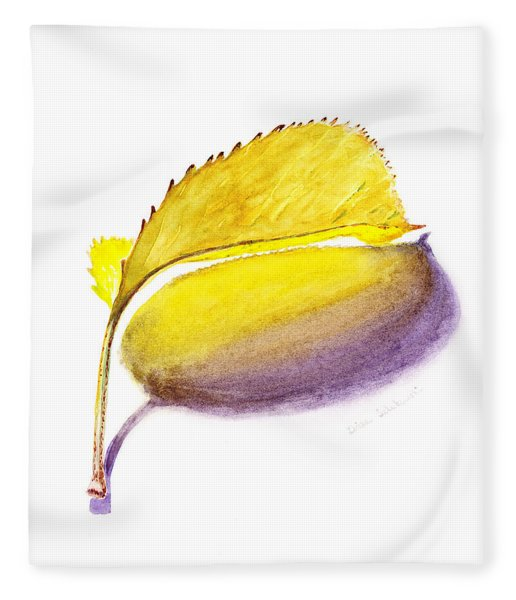 Fallen Leaf Yellow Shadows Fleece Blanket