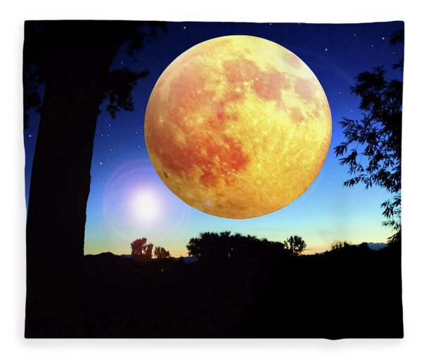 Fantasy Moon Landscape Digital Art Fleece Blanket