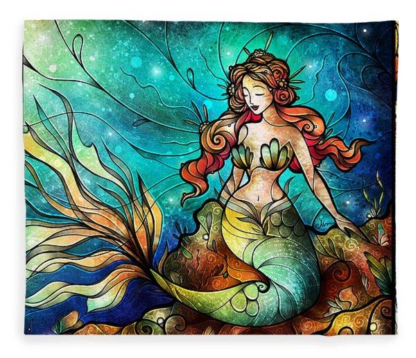 The Serene Siren Triptych Fleece Blanket