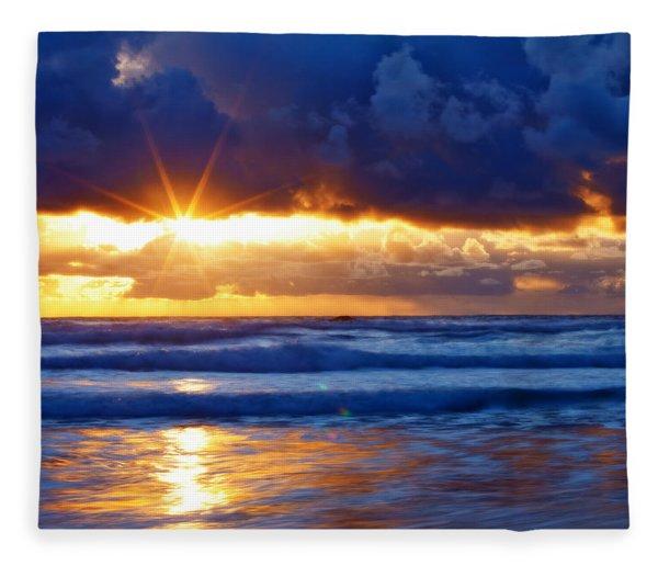 Fire On The Horizon Fleece Blanket