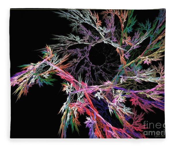 Fleece Blanket featuring the digital art First Flower - Abstract Art by Sipo Liimatainen