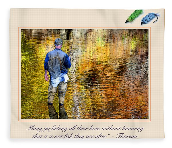 Fisherman In Autumn Fleece Blanket