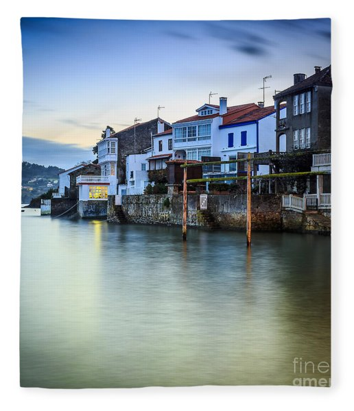 Fishing Town Of Redes Galicia Spain Fleece Blanket