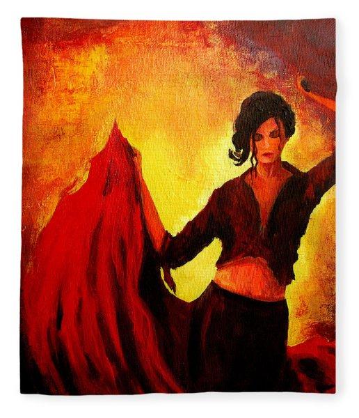 Flamenco Dancer Fleece Blanket