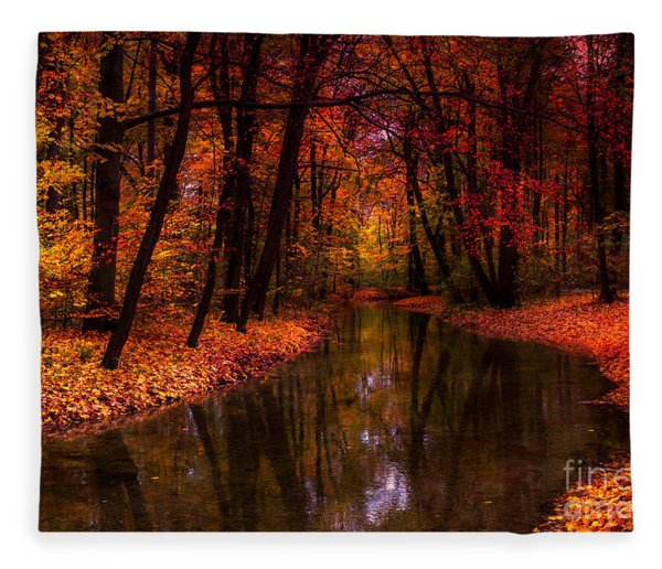 Flowing Through The Colors Of Fall Fleece Blanket