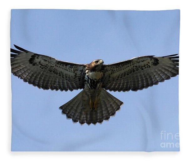 Flying Free - Red-tailed Hawk Fleece Blanket