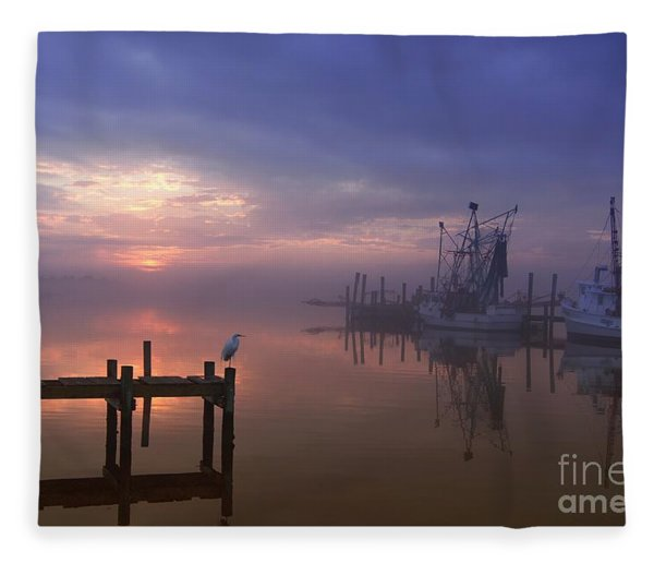 Foggy Sunset Over Swansboro Fleece Blanket