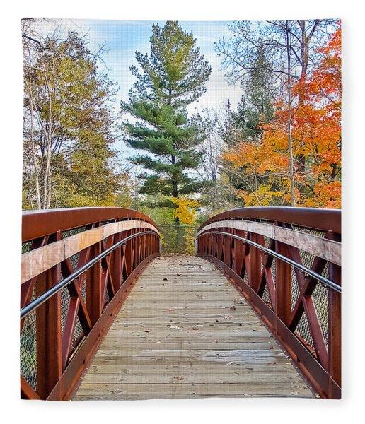 Foot Bridge In Fall Fleece Blanket
