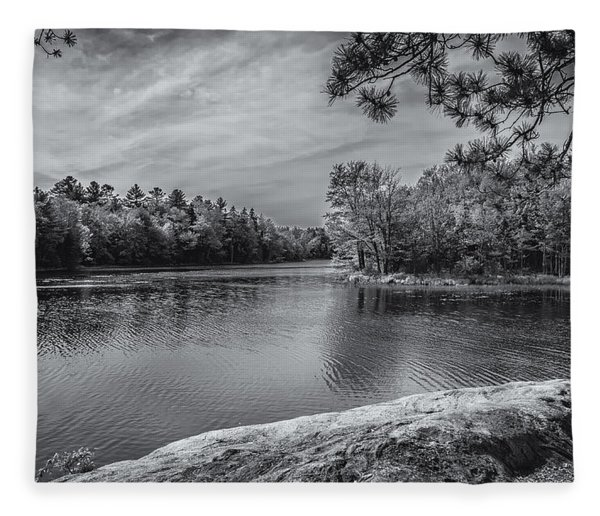 Fork In River Bw Fleece Blanket