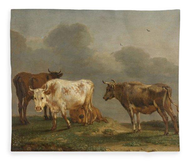 Four Cows In A Meadow Fleece Blanket