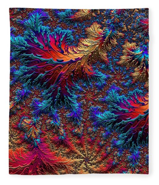 Fleece Blanket featuring the digital art Fractal Jewels Series - Beauty On Fire II by Susan Maxwell Schmidt
