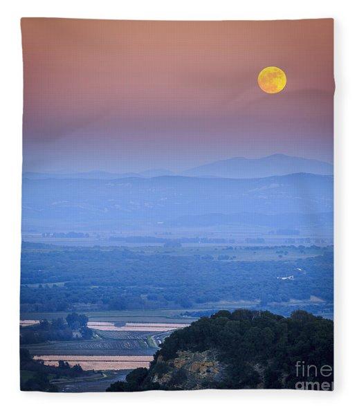 Full Moon Over Vejer Cadiz Spain Fleece Blanket