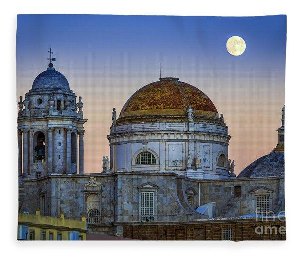 Full Moon Rising Over The Cathedral Cadiz Spain Fleece Blanket