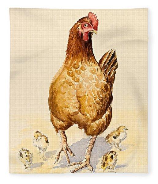 George's Hen And Her Chicks Fleece Blanket