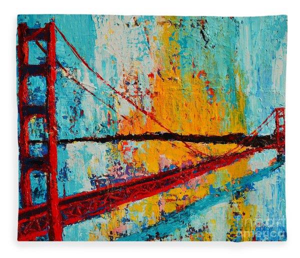 Golden Gate Bridge Modern Impressionistic Landscape Painting Palette Knife Work Fleece Blanket