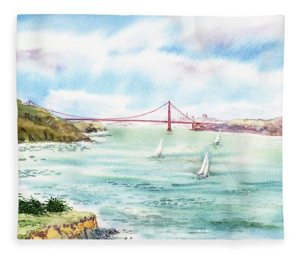 Golden Gate Bridge View From Point Bonita Fleece Blanket
