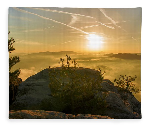 Golden Morning On The Lilienstein Fleece Blanket