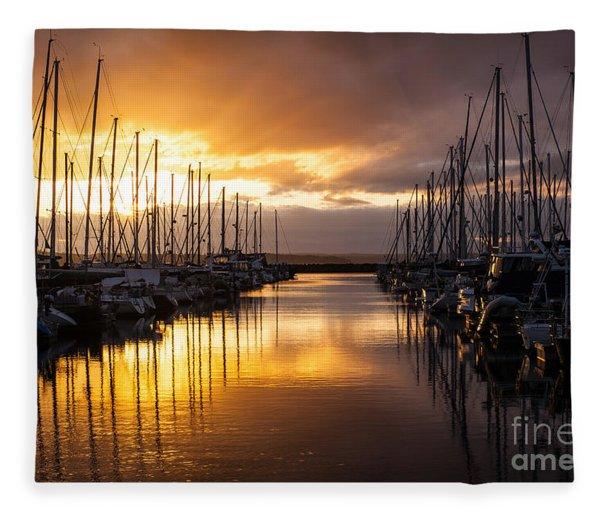 Golden Shilshole Marina Glow Fleece Blanket