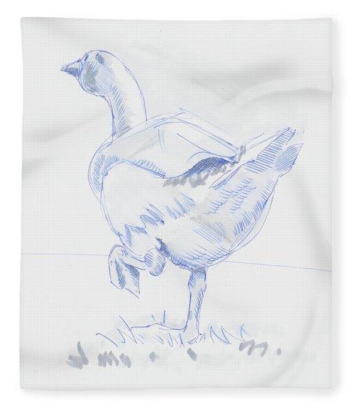 Goose Walking Fleece Blanket