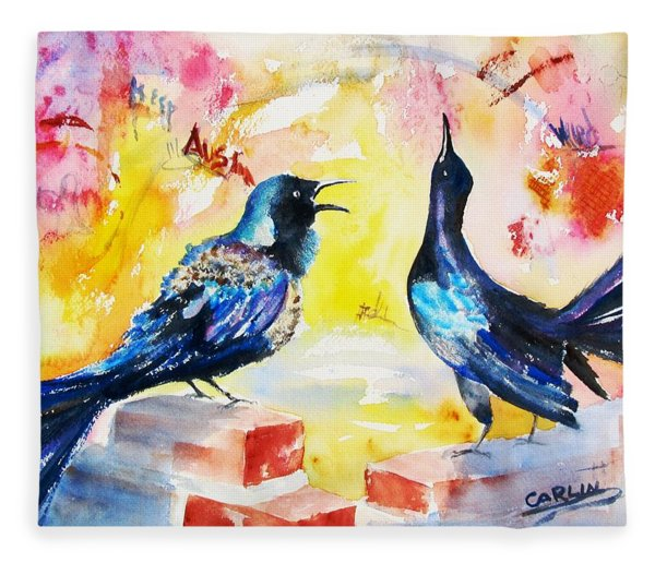 Grackles And Graffiti  Fleece Blanket