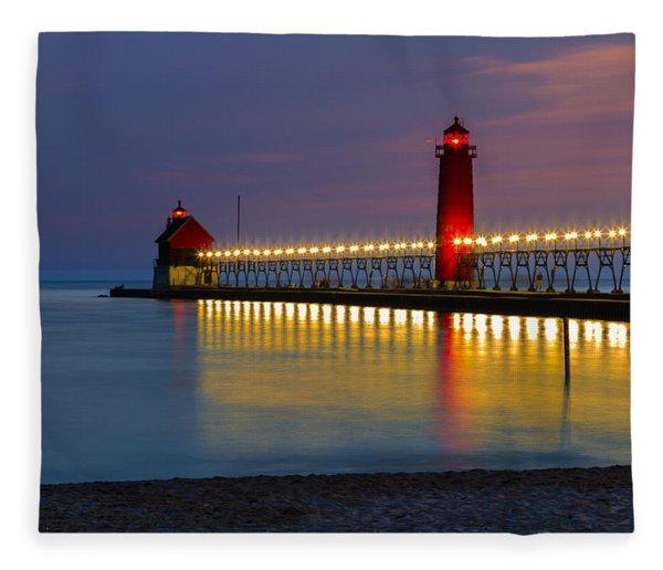 Grand Haven South Pier Lighthouse Fleece Blanket