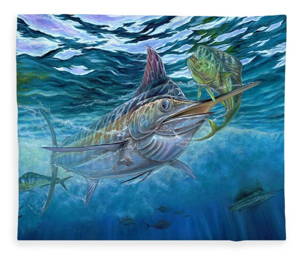Great Blue And Mahi Mahi Underwater Fleece Blanket