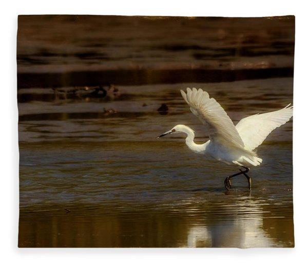 Great Egret Taking Off Fleece Blanket