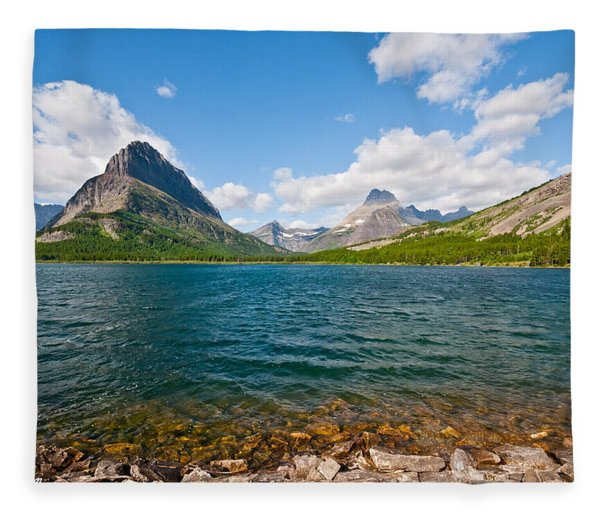 Grinnell Point From Swiftcurrent Lake Fleece Blanket