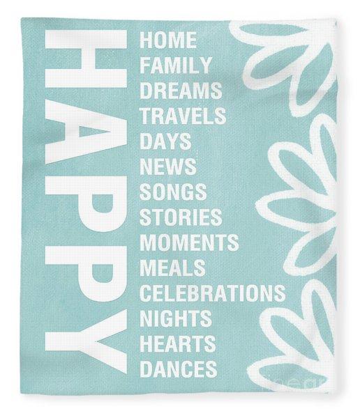 Happy Things Blue Fleece Blanket