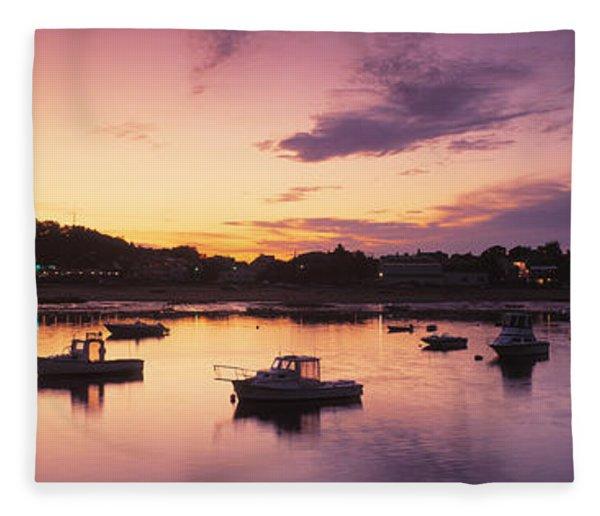 Harbor Cape Cod Ma Fleece Blanket