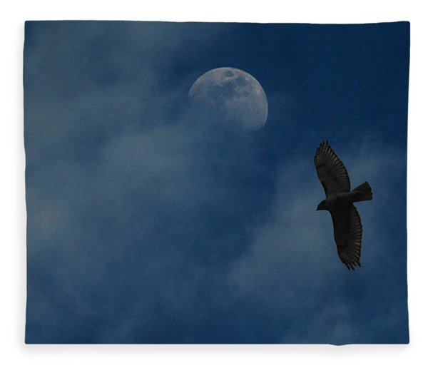 Fleece Blanket featuring the photograph Hawk And Moon Coming Out Of The Mist by Raymond Salani III
