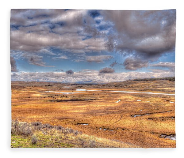 Hayden Valley Bison On Yellowstone River Fleece Blanket