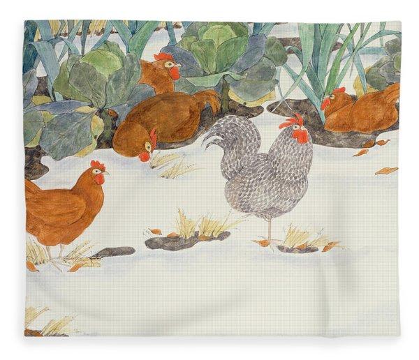Hens In The Vegetable Patch Fleece Blanket