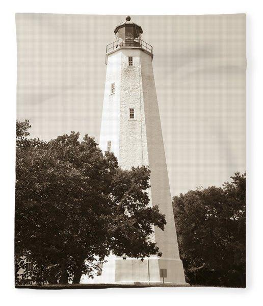Historic Sandy Hook Lighthouse Fleece Blanket