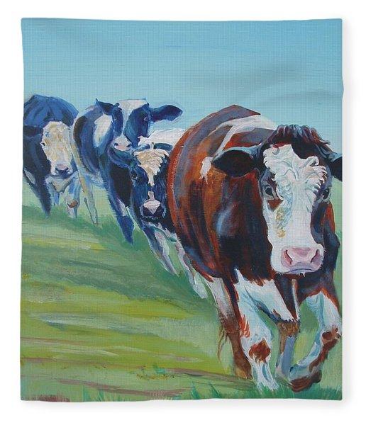 Holstein Friesian Cows Fleece Blanket