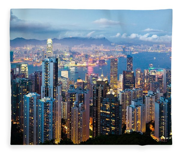 Hong Kong At Dusk Fleece Blanket