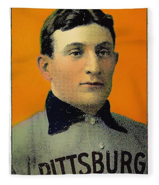 Honus Wagner Baseball Card 0838 Fleece Blanket