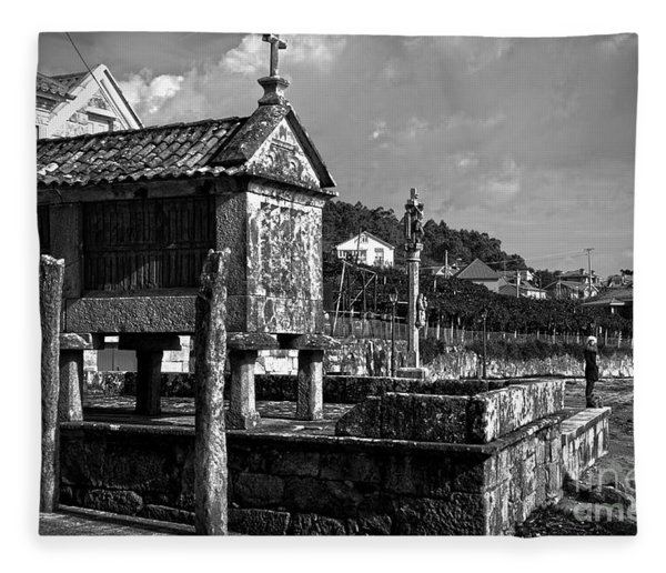 Horreo And Cruceiro In Galicia Bw Fleece Blanket