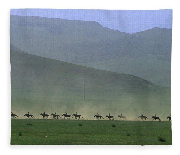 Horse Race, Nadaam Festival Fleece Blanket