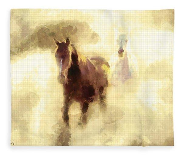 Horses Of The Mist Fleece Blanket