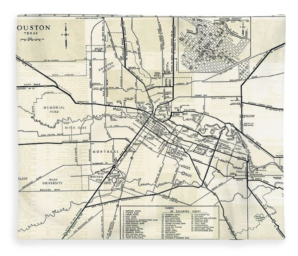 Houston City Hand Drawn Map  1935 Fleece Blanket