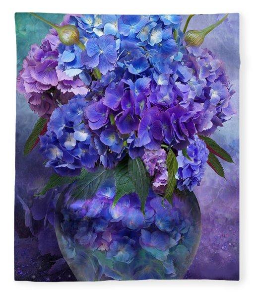 Hydrangeas In Hydrangea Vase Fleece Blanket