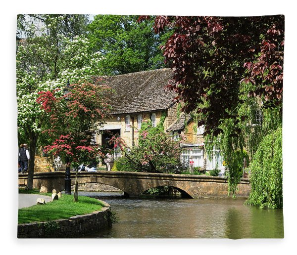 Idyllic Village Scene Fleece Blanket