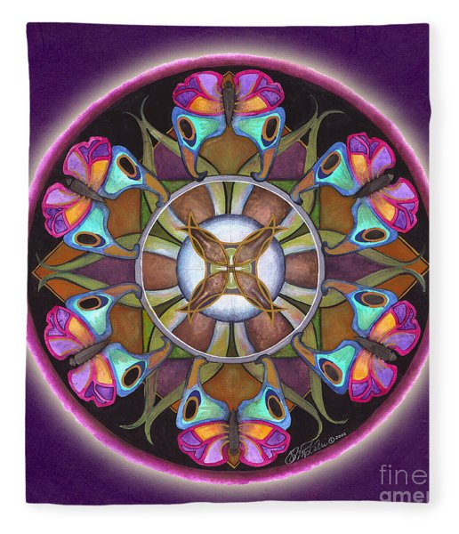 Illusion Of Self Mandala Fleece Blanket