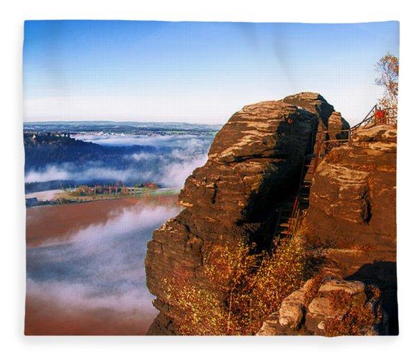 In The Sun Glowing Rock On The Lilienstein Fleece Blanket