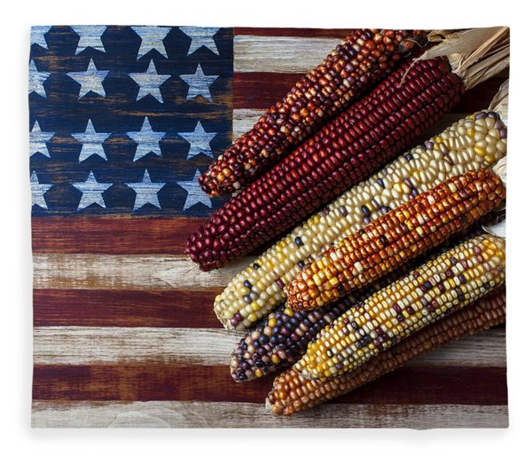 Indian Corn On American Flag Fleece Blanket