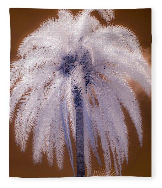 Infrared Palm Tree Fleece Blanket