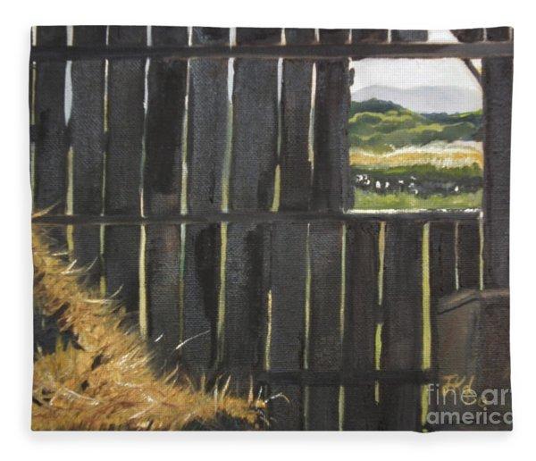 Barn -inside Looking Out - Summer Fleece Blanket