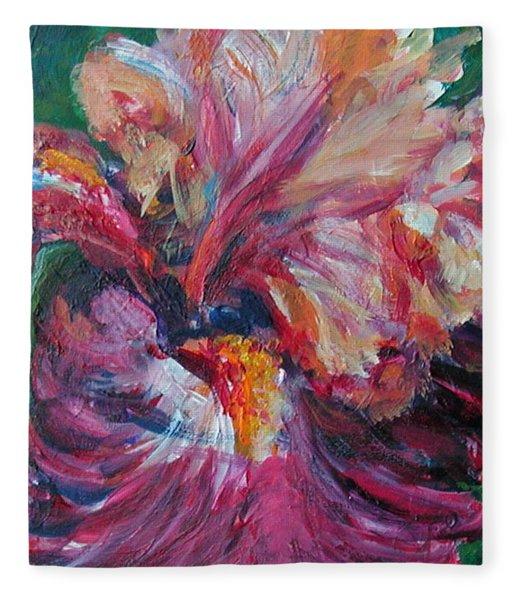 Iris - Bold Impressionist Painting Fleece Blanket