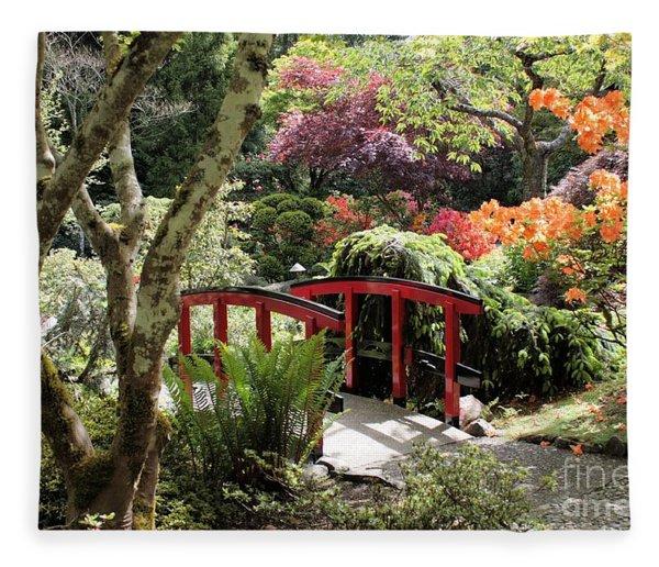 Japanese Garden Bridge With Rhododendrons Fleece Blanket